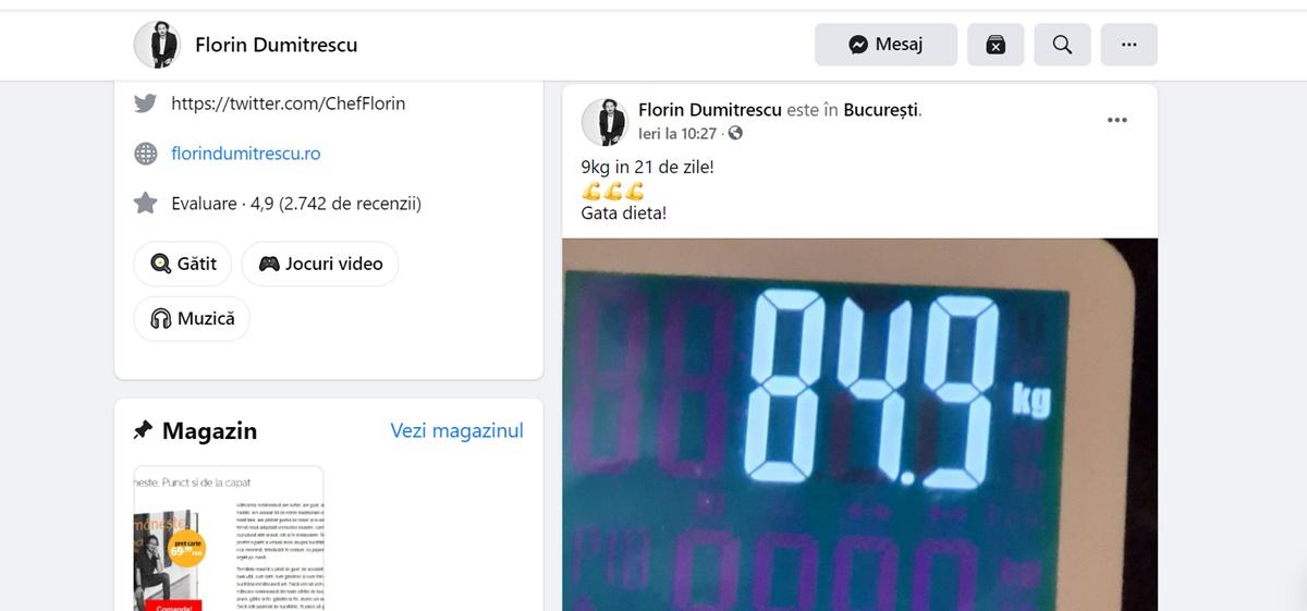 Dieta lui chef Florin Dumitrescu. A slăbit 10 kg în 21 de zile