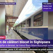 Un tren a deraiat, iar în Sighișoara călătorii au fost blocați în tren