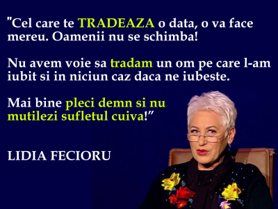 """Consecinţele karmice ale trădării, cu Lidia Fecioru: """"Cine trădează o dată, trădează şi a doua oară"""""""